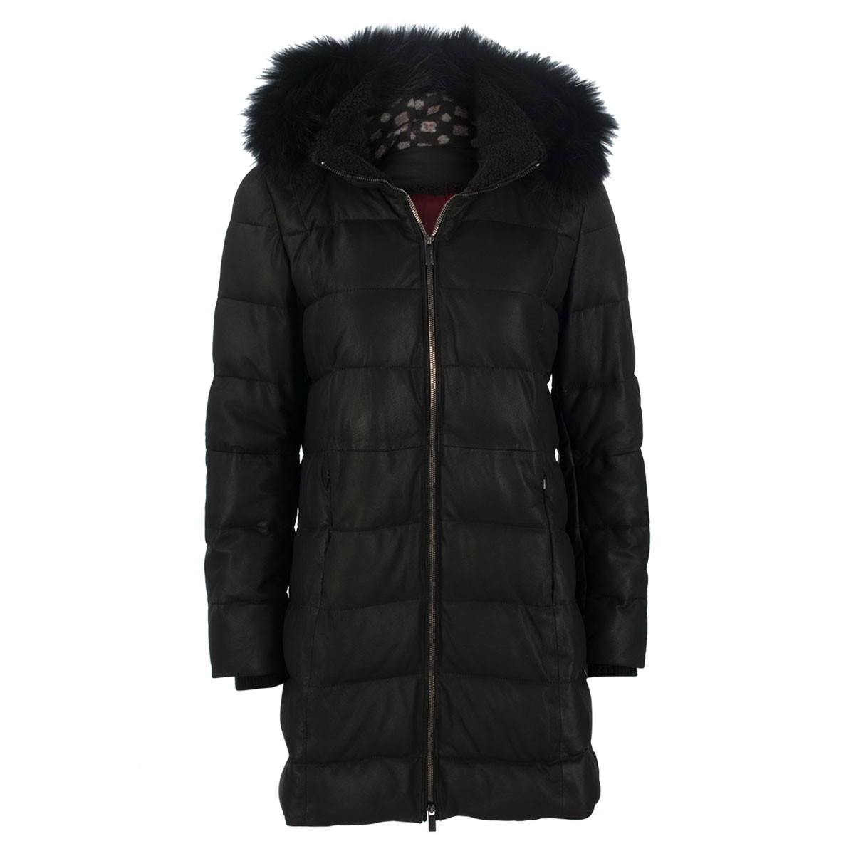 ledermantel - regular fit - fake fur