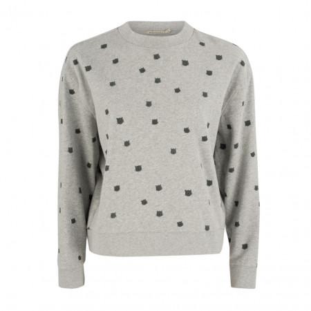SALE %   ArmedAngels   Sweatpullover - Comfort Fit - Katzen-Allover-Print   Grau online im Shop bei meinfischer.de kaufen