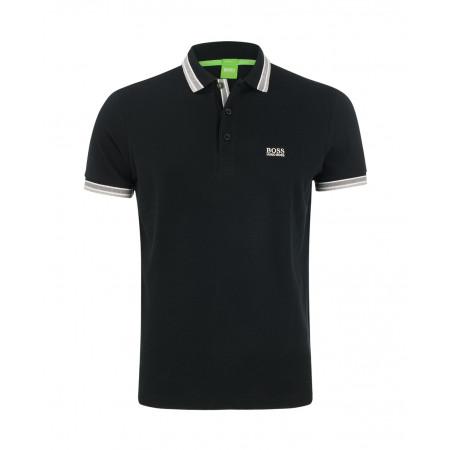 SALE % | Boss Athleisure | Poloshirt mit farbigem Polokragen | Schwarz online im Shop bei meinfischer.de kaufen