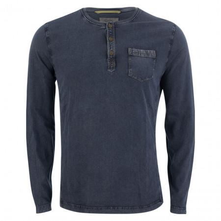 SALE % | camel active | Henleyshirt - Modern Fit - Cold dye-Optik | Blau online im Shop bei meinfischer.de kaufen