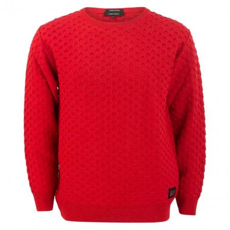 SALE % | Carlo Colucci | Pullover - Regular FIt - Struktur | Rot online im Shop bei meinfischer.de kaufen