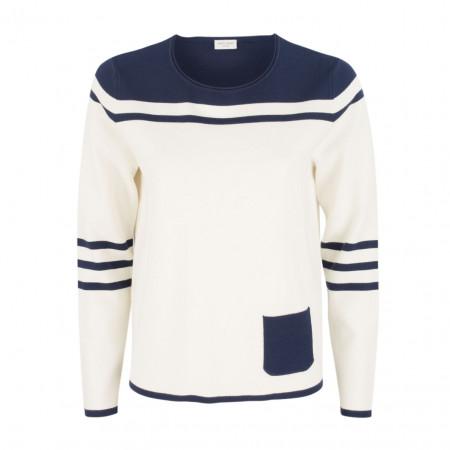 SALE %   Gerry Weber Casual   Pullover - Regular Fit - Ziertasche   Weiß online im Shop bei meinfischer.de kaufen