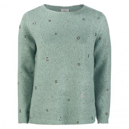 SALE % | Gerry Weber Casual | Pullover - Regular Fit - Nieten | Grün online im Shop bei meinfischer.de kaufen