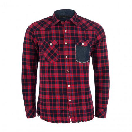 SALE % | Gianni Lupo | Freizeithemd - Slim Fit - Destroyed-Look | Rot online im Shop bei meinfischer.de kaufen