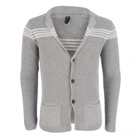 Strickjacke - Slim Fit - Stripes