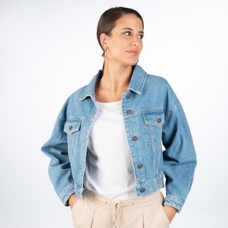 SALE % | ONE MORE STORY | Jeansjacke - Loose Fit - Cropped | Blau online im Shop bei meinfischer.de kaufen