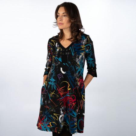 SALE %   Joseph Ribkoff   Kleid - Loose Fit - Muster   Schwarz online im Shop bei meinfischer.de kaufen