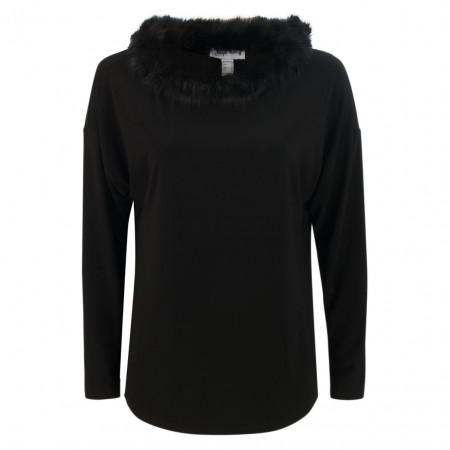 SALE % | Joseph Ribkoff | Shirt - Regular Fit - Fake Fur | Schwarz online im Shop bei meinfischer.de kaufen