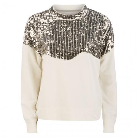 SALE % | Marc Cain | Sweatshirt - Boxy Fit - Pailletten | Weiß online im Shop bei meinfischer.de kaufen