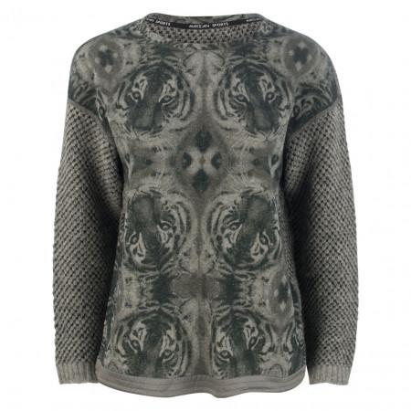 SALE % | Marc Cain | Pullover - Regular Fit - Animal Print | Grau online im Shop bei meinfischer.de kaufen