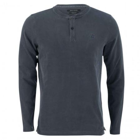 SALE % | Marc O'Polo | Henleyshirt - Regular Fit - Stehkragen | Blau online im Shop bei meinfischer.de kaufen