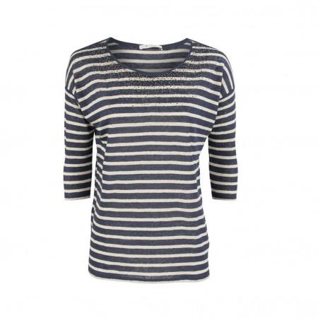 SALE % | Boss Casual | Leinenshirt - Regular Fit - Strassdekor | Blau online im Shop bei meinfischer.de kaufen