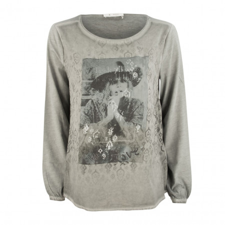 SALE % | Monari | Bluse - Reguar Fit - Print | Grau online im Shop bei meinfischer.de kaufen