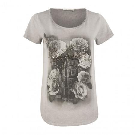 SALE % | Boss Casual | T-Shirt - Regular Fit - Strassprint | Grau online im Shop bei meinfischer.de kaufen