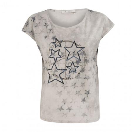 SALE % | Boss Casual | T-Shirt - Oversized  - Strassprint | Grau online im Shop bei meinfischer.de kaufen