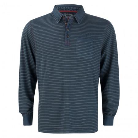 SALE % | Monte Carlo | Langarmpolo - Regular Fit - Stripes | Blau online im Shop bei meinfischer.de kaufen