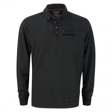 SALE % | Monte Carlo | Langarmpolo - Regular Fit - Stripes | Schwarz online im Shop bei meinfischer.de kaufen