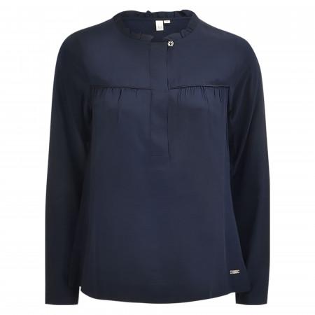 SALE %   Q/S designed by   Shirtbluse - Loose Fit - unifarben   Blau online im Shop bei meinfischer.de kaufen