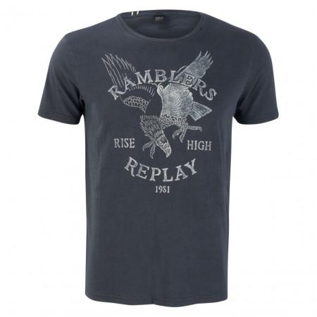 SALE %   Replay   T-Shirt - Slim Fit - Print   Blau online im Shop bei meinfischer.de kaufen