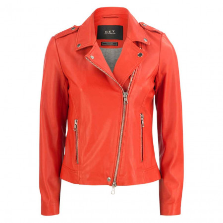 SALE %   SET   Lederjacke - Regular Fit - Revers   Rot online im Shop bei meinfischer.de kaufen