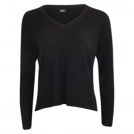 SALE %   s.Oliver BLACK LABEL   Pullover - Loose Fit - V-Neck   Schwarz online im Shop bei meinfischer.de kaufen
