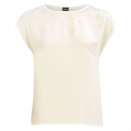 SALE % | s.Oliver BLACK LABEL | T-Shirt - Loose Fit - Strass | Weiß online im Shop bei meinfischer.de kaufen