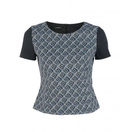 SALE % | Taifun | Shirt - cropped - Muster | Blau online im Shop bei meinfischer.de kaufen