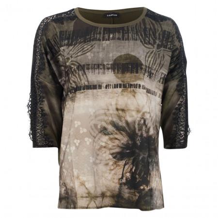 SALE % | Taifun | Shirt - Regular Fit - Material-Mix | Oliv online im Shop bei meinfischer.de kaufen