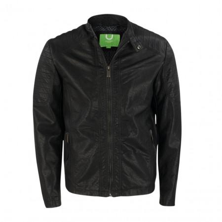 SALE % | Boss Casual | Leichte Jacke - Regular Fit - Leder Optik | Schwarz online im Shop bei meinfischer.de kaufen