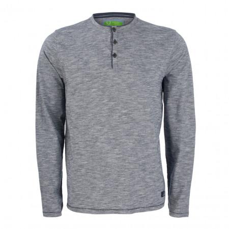 SALE %   U Fischer   Henleyshirt - Regular Fit - Melange-Optik   Blau online im Shop bei meinfischer.de kaufen