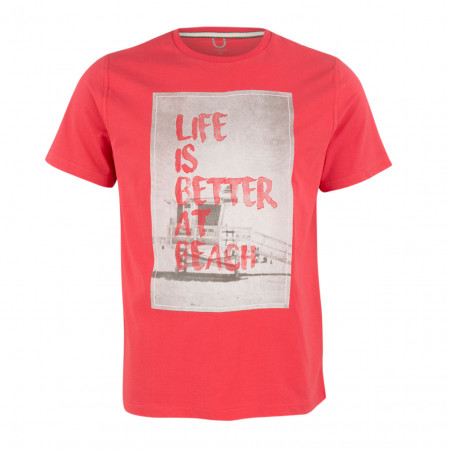 SALE % | Boss Casual | T-Shirt - Regular Fit - Print | Rot online im Shop bei meinfischer.de kaufen