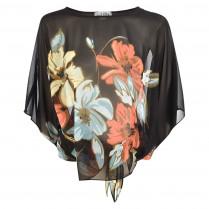 Bluse  - Poncho-Form -  Flowerprint 100000