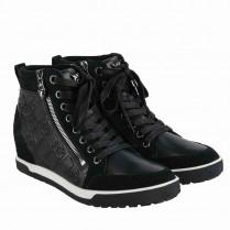 Midcut-Sneaker - Labelprint - Leder 100000