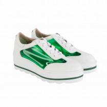 Plateau-Sneaker - Transparenteinsatz - Leder 100000