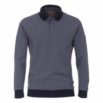 Polo-Sweatshirt - Regular Fit - Heringbone-Jacquard