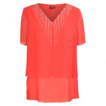 Bluse - Loose Fit - Strass