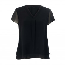 Chiffonbluse - Loose Fit - V-Neck