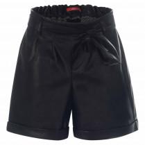 Paperbag-Shorts - Loose Fit - Leder-Optik