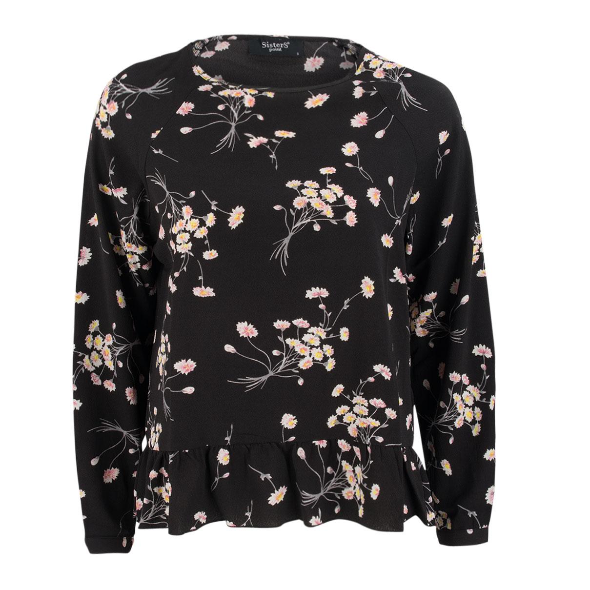 Bluse - Floralprint - Schößchen